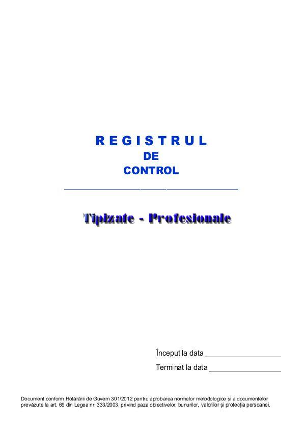 Registru de Control - 50 file