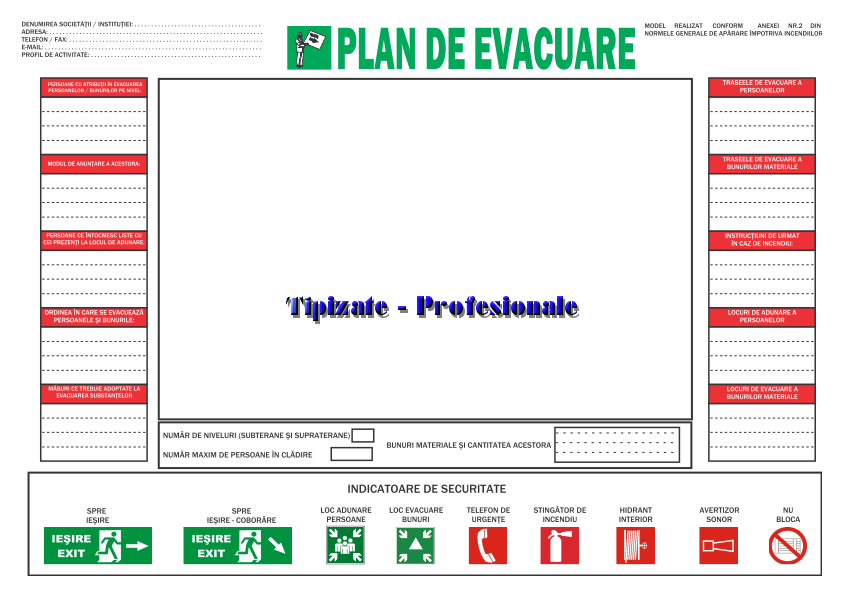 Plan de evacuare - model 2