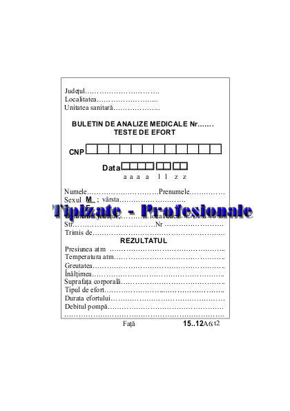 Buletin de Analize - Teste Efort A6